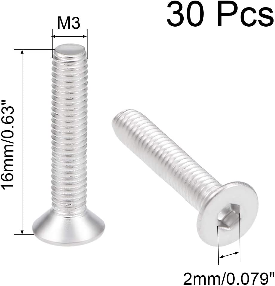 uxcell M3x16mm Flat Head Machine Screws Inner Hex Screw 304 Stainless Steel Fasteners Bolts 40Pcs