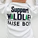 Support Wildlife - Raise Boys, Funny Outfit for Baby Boy, Long Sleeve, White, 3-6 Months