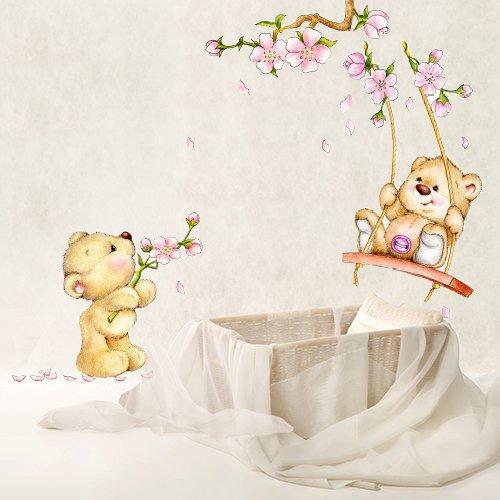 wall art - Adesivo da muro per bambini con motivo con orso in primavera, Multicolore, 30x 100 cm, R00154 Adesivi Murali