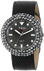 TKO ORLOGI Women's TK618BK Leather Black Crystal Slap Watch