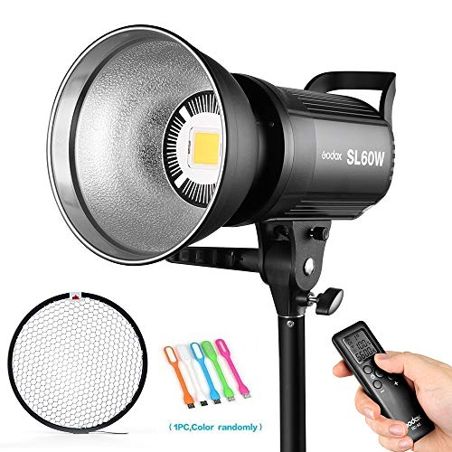 Godox SL-60W 60W CRI95+ Bowens Mount LED Video Light Continuous Output Lighting &Wireless Remote for Video Recording,Children Photography,Wedding,Outdoor Shooting (110V)