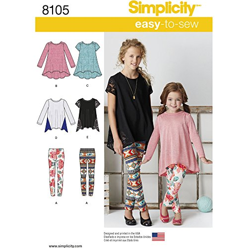 Simplicity Creative Patterns US8105K5 Simplicity Patterns Child's and Girls' Knit Tunics and Leggings Size: K5 (7-8-10-12-14), 8105 by Simplicity Creative Patterns