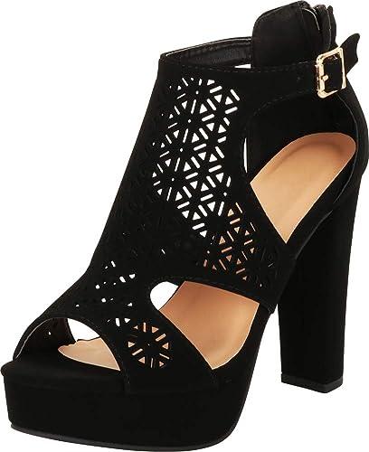 b3e1fe6b7c89 Cambridge Select Women s Open Toe Lasercut Caged Chunky Platform High Heel  Sandal