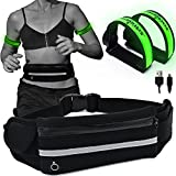 night gear - Running Belt with BONUS 2 Packs USB Rechargeable LED Safety Lights Armband - Reflective Waist Band - iPhone X 6 7 8 Phone Holder Fanny Pouch - Night Runners Gear/Accessories for Men and Women