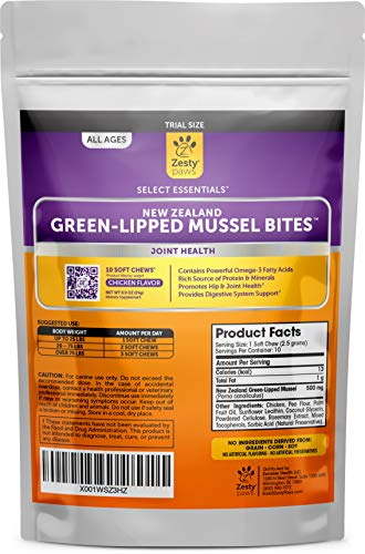New Zealand Green Lipped Mussel Chewable Treats for Dogs - With Natural Glucosamine & Chondroitin + Omega-3 Fatty Acids & Protein - Dog Hip & Joint Support Supplement Soft Chews (Sample 10 Count)