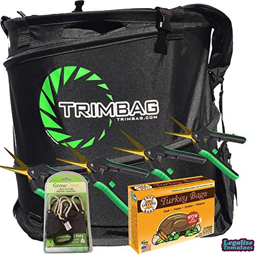 Trimbag Premium Complete Dry Trimming Kit - Includes 4 Pairs of Growers House Trimming Scissors, 10 Pack of Turkey Bags, and 1 Pair of Grow Crew Ratchet Hangers | Legalize Tomatoes Sticker Included