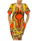Winwinus Women's Party Mulit Color Batik Dashiki African Print Mini Dress 13 2XL