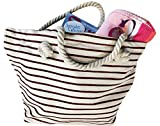 Canvas Beach Bag with Merlot Stripes, Zipper top and Liner. - Spinnaker Collection