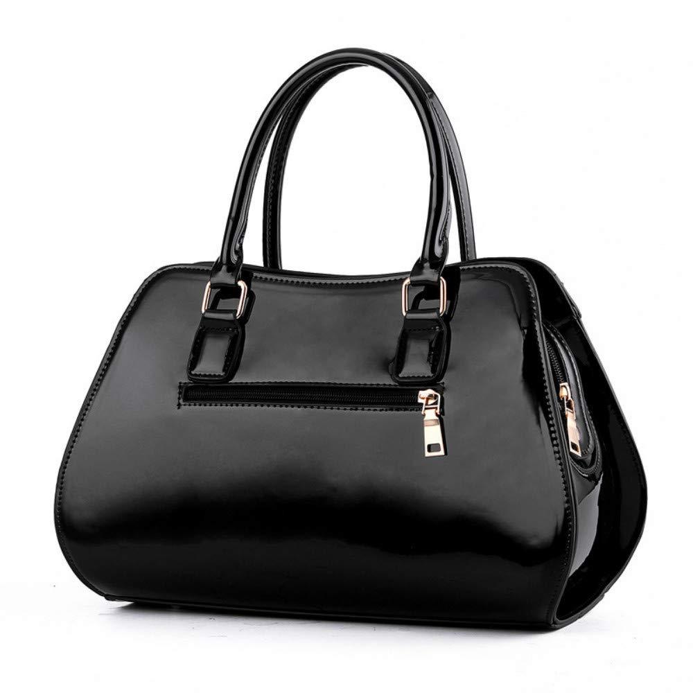 hysxm elegant dam handväskor axelväska nytt mode design inköpsväska kvinnor casual lackläder handväska messenger bags hög kvalitet SVART