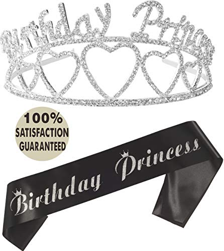 Birthday Princess Sash and Tiara| Birthday Girl Sash and Crown| Happy Birthday Party Supplies| Favors, Decorations 9,10,11 13th, 16th, 21st, 30th, 40th, 50th, 60th, 70th, 80th, 90th Birthday (Silver)