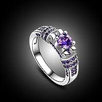 wanmanee Engagement Wedding Gemstone 18K White Gold Ring Amethyst Jewerly (7)