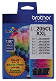 Brother Genuine Super High Yield Color Ink Cartridge, LC2053PKS, Replacement Color Ink Three Pack, Includes 1 Cartridge Each of Cyan, Magenta & Yellow, Page Yield Up To 1200 Pages/Cartridge, LC205