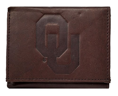 Rico Oklahoma Sooners NCAA Embossed Logo Dark Brown Leather Trifold Wallet (Card Oklahoma Logo Credit)