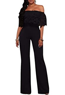 Mmermy Womens Solid Color Sportswear High Waist Round Neck Lace Jumpsuit