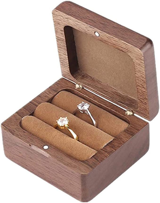 KINTRADE - Caja de madera cuadrada para anillos de compromiso ...