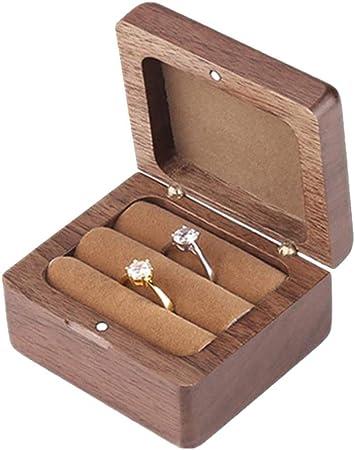 KINTRADE - Caja de madera cuadrada para anillos de compromiso: Amazon.es: Hogar