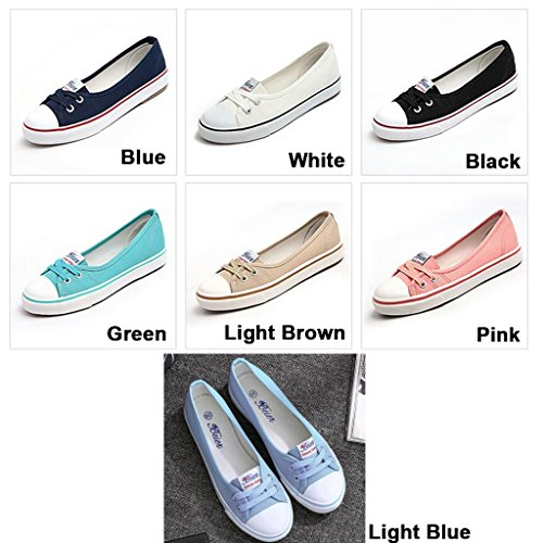 Wyhui Women Casual Canvas Work Flats Loafers Slip On Woman's Flats Soft Fashion Boat Shoes White 39