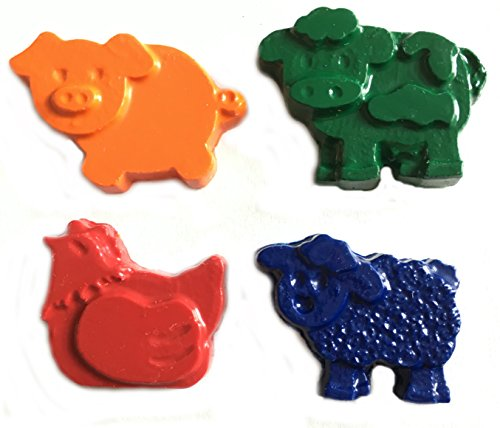 Set Crayon Party Favor (MinifigFans 48 Farm Animal Crayons - Birthday Party Favors - 12 Sets of 4 Crayons - Made in the USA)