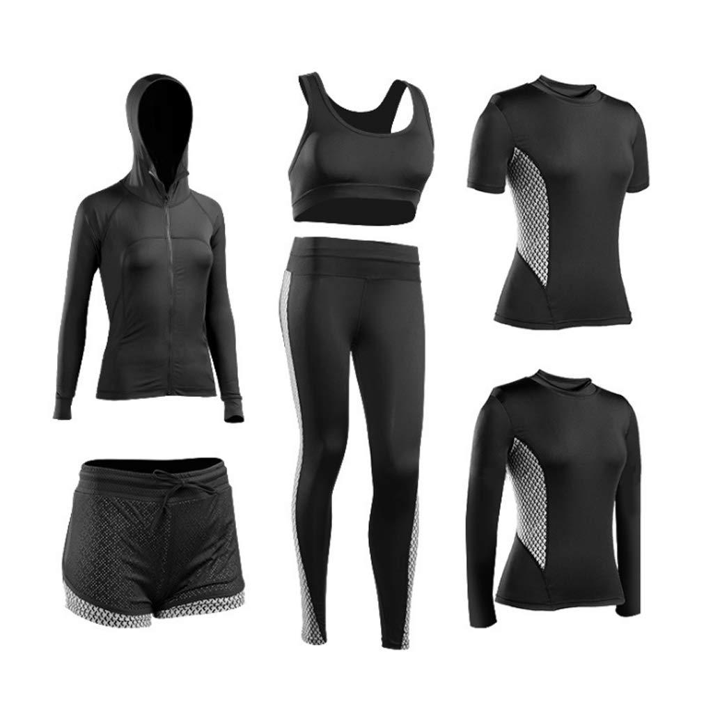 Lilongjiao Damen Sportbekleidung Fitness Wear Schnell trocknend Laufen Yoga Kleidung Gym Laufbekleidung Sportbekleidung Casual Sportbekleidung Weste Fitness Kleidung (sechs Sätze)