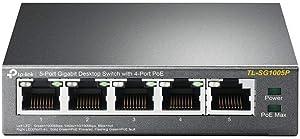 TP-Link 5 Port Gigabit PoE Switch   4 PoE Ports @56W   Desktop   Plug & Play   Sturdy Metal w/ Shielded Ports   Fanless   Limited Lifetime Protection   Traffic Optimization   Unmanaged (TL-SG1005P)