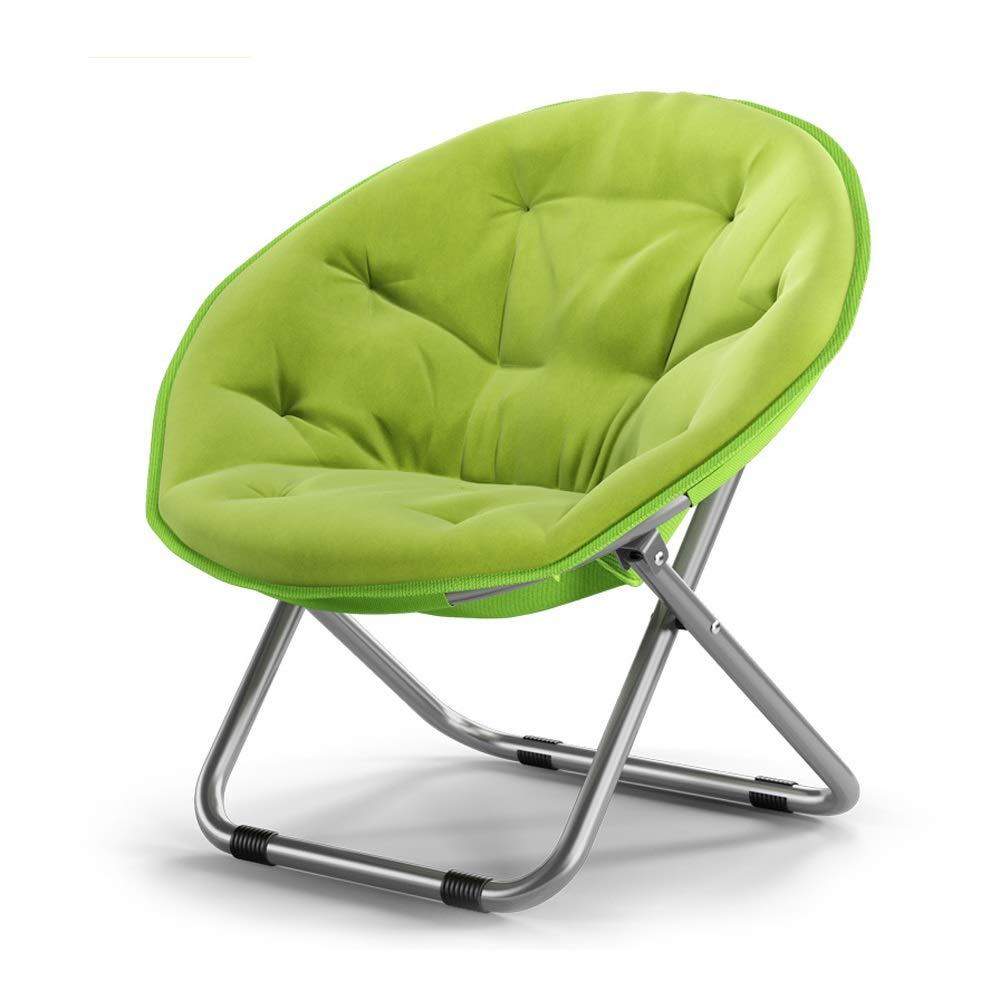 Baiyun Flyin Moon Chair Garten-Sonnenstuhl Runder Klappstuhl Mit Rückenlehne Verbreiteter Und Stabiler Design-Stahlrahmen Tragkraft 150kg (Farbe : Grün)