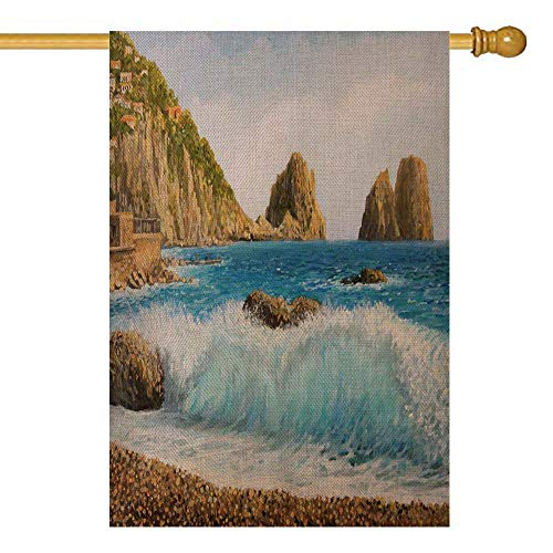 Events On Halloween In The Bay Area (Shorping Decorative Christmas Garden Flag, Winter Garden Flag Outdoor Garden Flag 28X40Inch Oil Painting on Canvas of Famous Rock Formation Island in Bay Area for Seasonal Garden Flag Yards)