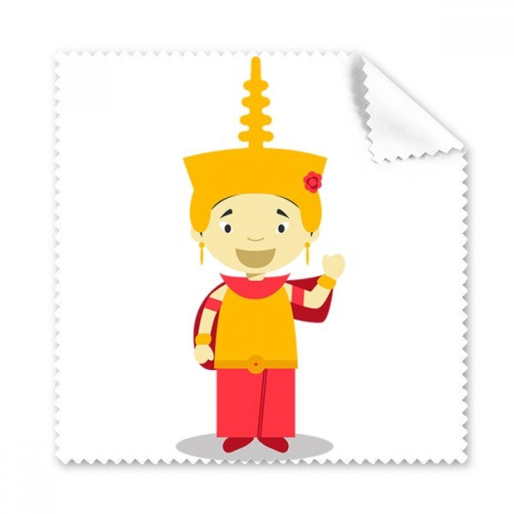 カンボジアイエロー帽子Cartoon Glasses布クリーニングクロスギフト電話画面クリーナー5点   B071GXFXRW