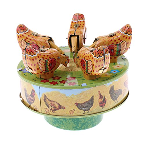 Dovewill Vintage Mechanical Clockwork Wind Up Pecking 5 Chicken Collectable Tin Toy Home Ornaments