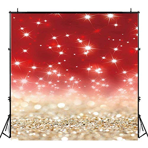 - Funnytree 8x8ft Gold Red Glitter Bokeh Photography Backdrop Christmas Shiny Sparkle Background Baby Portrait Party Decorations Photobooth Banner Photo Studio Props