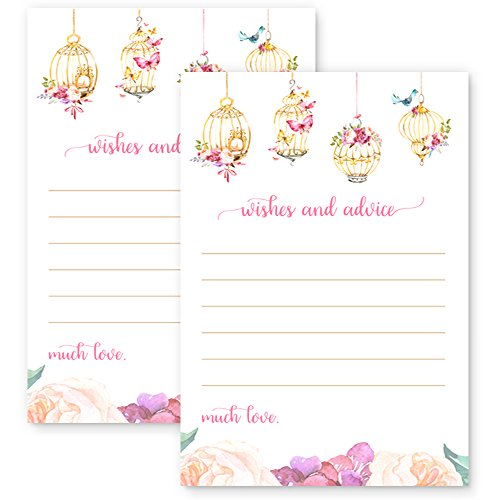 Fancy Floral Wishes for Baby Girl Wedding Advice Card Shower Game (20 (Keepsake Time Capsule)