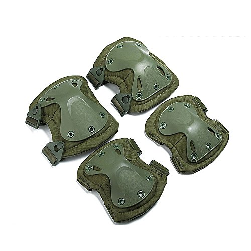 Ever Fairy Combat Tactical Military Army Hard X Knee Pads Elbow Pads Tactical Protection Sports Safety Pads (Green)