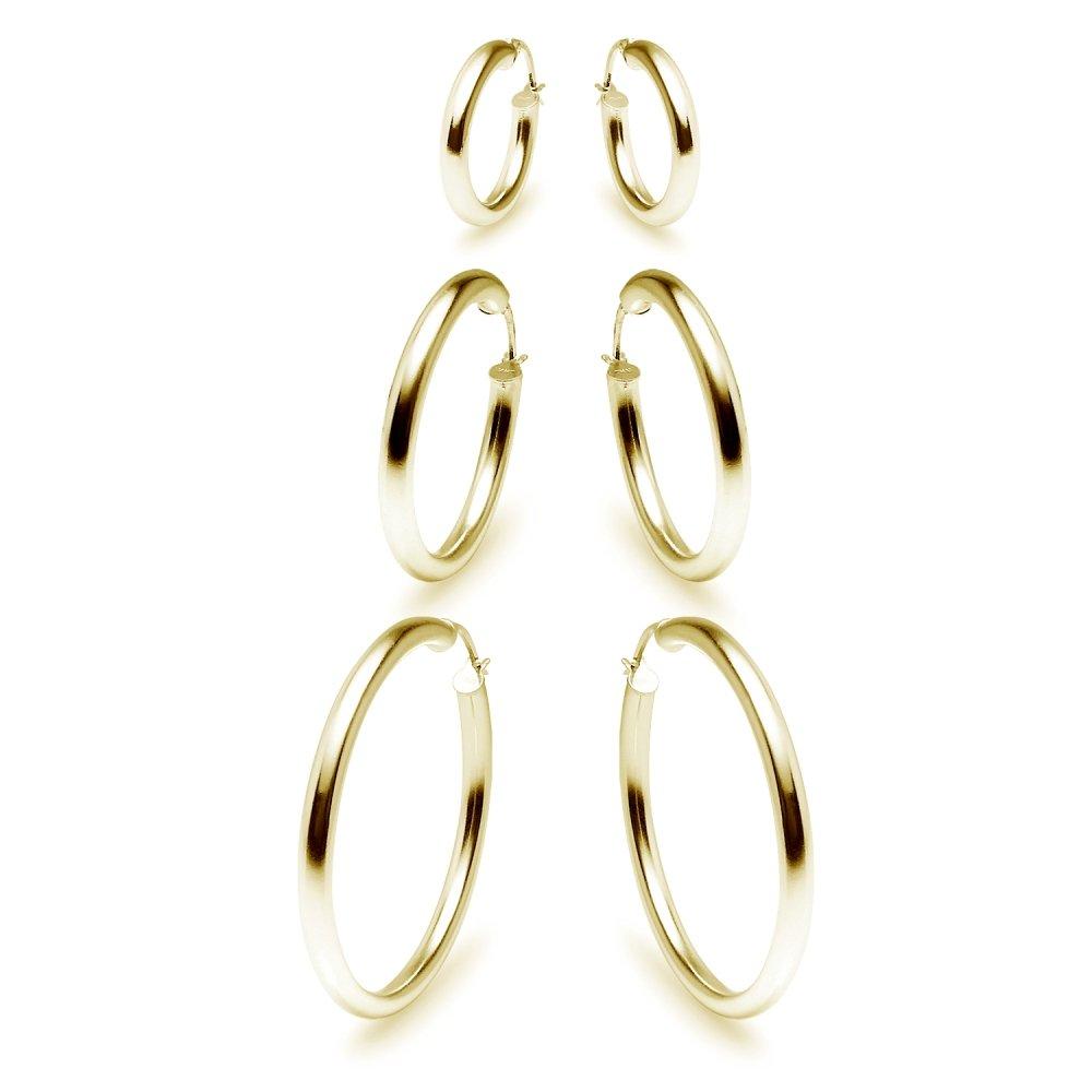 3 Pairs Sterling Silver 3mm Hoop Earrings Set for Women Teens Girls 15-50mm 15mm 25mm 35mm GemStar USA US_B075X3WCBD