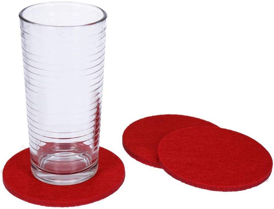 georges Lot de 8 Dessous de Verre Ronds en Feutre pour Table et Bar Rouge