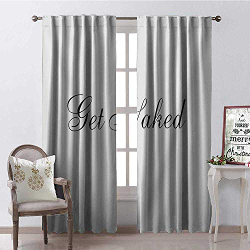 Hengshu Simple Get Naked Font Waterproof Window Curtain Decorative Curtains for Living Room W84 x L84