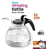 Wee's Beyond 7756 Stove Top Glass Whistling Kettle, 12 Cup, Clear/Glass