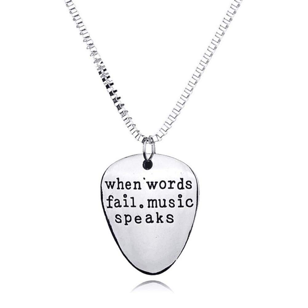 Man, Woman When Word Fails Music Speakguitar Guitar Pick Pendant Necklace Jewelry by GUYAYA