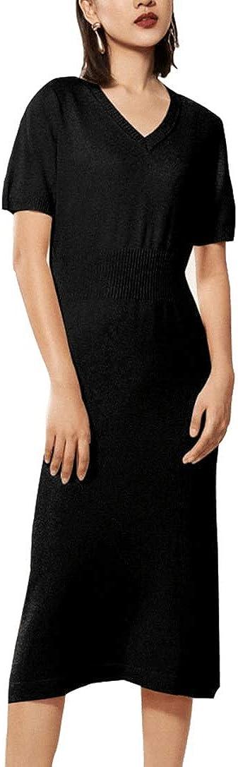 B07MYLBVSN RanRui Womens Winter Spring Dresses Sweater Dress Cashmere Long Sleeve Elegant midi Dress 51rI%2Bgfmx0L