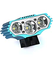 LED Scheinwerfer, Nourich 12000 Lm 3 x XML T6 LED 3 Modi Fahrradleuchte Fahrradbeleuchtung, Fahrradlampe Fahrradlicht, Aufladbare Fahrradlichter Taschenlampe (blau)