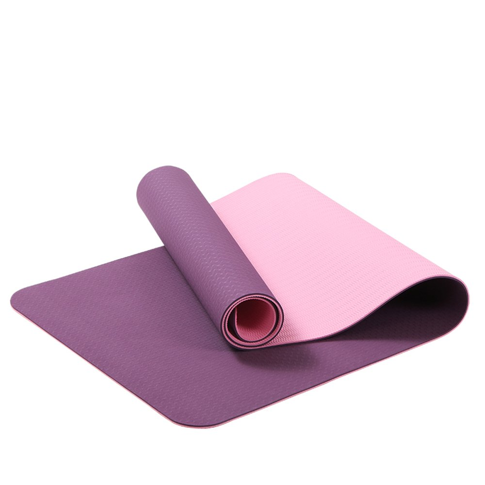 Dark Purple Tong Widened and Lengthened Beginners NonSlip Fitness Yoga Mat for Men and Women at The Same Time Fitness Plasticity (color   Dark Purple)