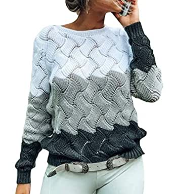 Womens Color Block Round Neck Long Sleeve Knitted Sweater Jumper Grey L