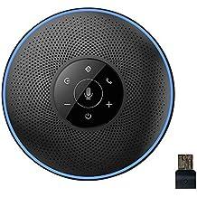 Bluetooth Speakerphone - eMeet M2 Black Wireless Speakerphone for 5-8 People Business Conference Call 360º Voice Pickup AI Self-Adaptive Conference Speakerphone Skype, Webinar, Phone, Call Center
