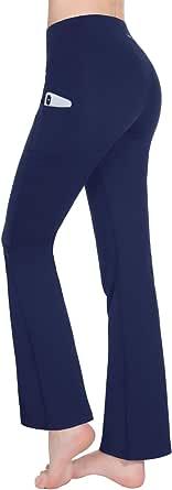 TAIBID Women's High Waist Yoga Pants Side Pockets Flare Workout Bootleg Leggings, Size S - XXL