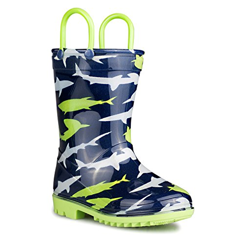 ZOOGS Children's Rain Boots with Handles, Little Kids & Toddlers, Boys & Girls, Blue (Shark), US 1Y (Childrens Rain Boot)