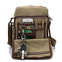 Heyrock Men Multi-function Military Canvas Satchel Messenger School Shoulder Leather Bag(Khaki)