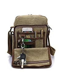 Heyrock Men Multi-function Military Canvas Satchel Messenger School Shoulder Leather Bag(Khaki)