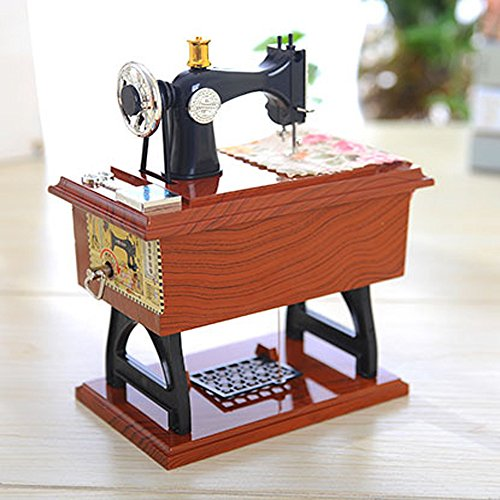 Hot Sale!DEESEE(TM)Vintage Music Box Mini Sewing Machine Style Mechanical Birthday Gift Table Decor ()