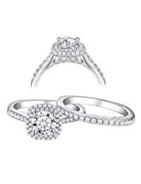 Newshe 1.6ct Round 925 Sterling Silver AAA Cz Wedding Engagement Ring Set for Woman Size 5-10