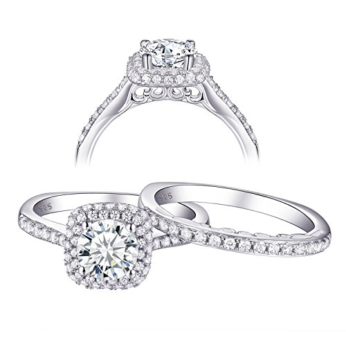 Newshe Wedding Engagement Ring Set for Women AAA Cz 1.6ct Round 925 Sterling Silver Size 5 ()