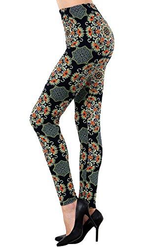 VIV Collection Printed Brushed Ultra Soft Leggings (Floral Webs)