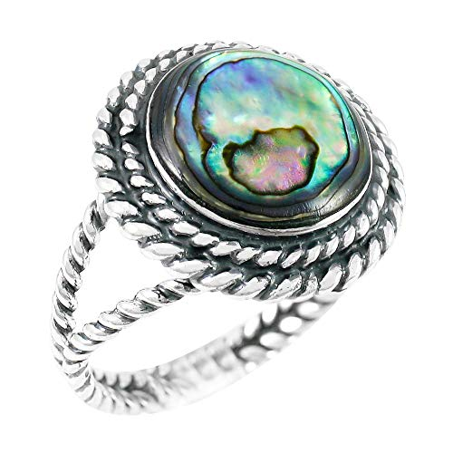 Abalone Ring Sterling Silver 925 Genuine Gemstones Size 6 to 11 (Abalone Shell) (11)